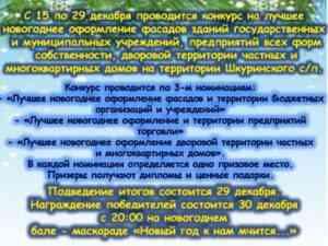 """С 15 по 29 декабря 2019 года проводится конкурс """"Лучшее новогоднее оформление"""""""
