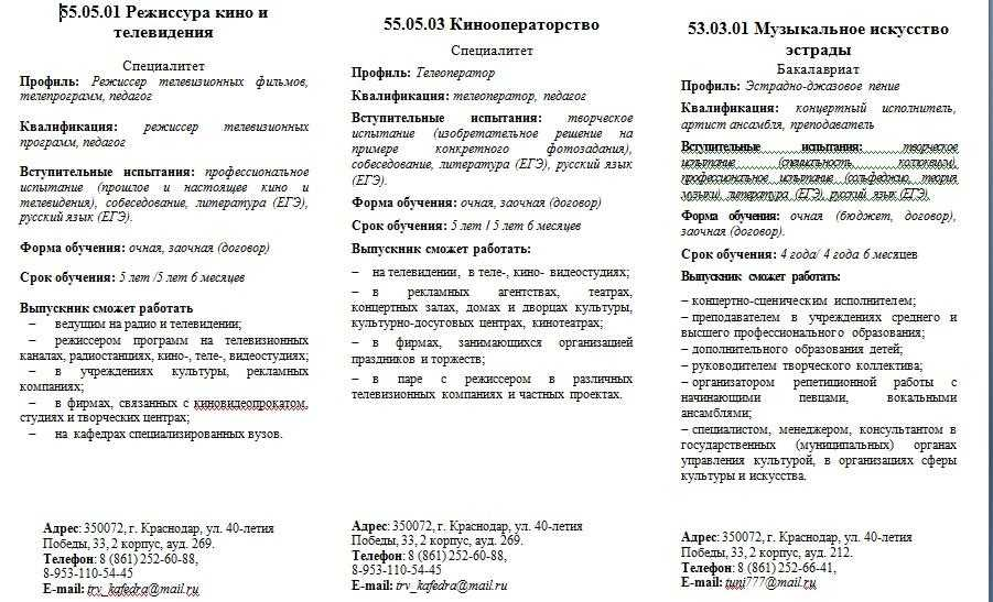 Информация о приеме в Краснодарский Государственный институт культуры в 2021 году 1